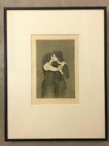 "Signed 1930 Raphael Soyer Lithograph ""Kiss,"" Framed"