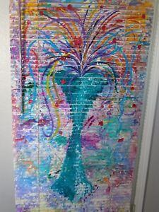 Mini Blind Original Artwork on Venetian Blinds 31 X 64 The Blue Vase