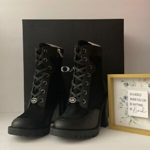 🌻 Coach G4235  🌻 Bootie Black Leather Suede Shoes NEW AUTH 🌻 #A636