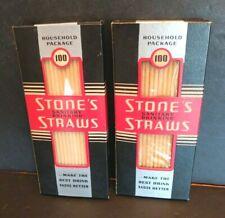 2 Vtg 1960's Stone's Sanitary Paper Drinking Straws Household Pkg of 100NOS New