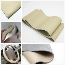 Car Steering Wheel Beige 100% Genuine Leather Cover & Needle for Audi BMW Benz
