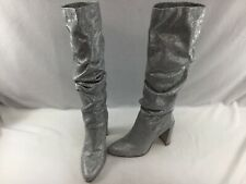 Stuart Weitzman Smashing Silver Noir Knee High Boots Size 9.5M  H2521/