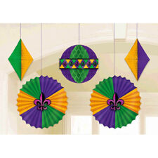 MARDI GRAS DELUXE HANGING DECORATIONS (5) ~ Birthday Party Supplies Paper Fans