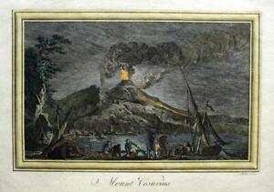 MOUNT VESUVIUS  ITALY  c1778 GENUINE ANTIQUE COPPERPLATE ENGRAVING