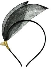 Black Headband Gold String Pearl Flapper Headpiece 1920s Great Gatsby Fascinator