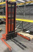 "Wesco Telescoping 130"" Lift 2000 lb Load Adj Base Powered Electric Fork Stacker"