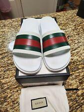 Gucci '72 Sport Pursuit Slides Men's White Sandals Flip Flops Size 11 G / 12 US