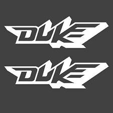KTM DUKE STICKERS X2 WHITE GRAPHICS SUPERMOTO MOTOCROSS ENDURO BIKE SUPER SPORTS