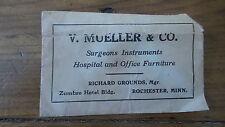 Antique Advertising Envelope V.MUELLER & CO., SURGEONS INSTRUMENTS ROCHESTER,MN