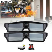 2x BOBLOV 3D DLP-Link 144Hz Active Shutter Glasses Movie USB For BenQ Projector
