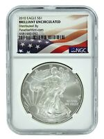 2010 1oz American Silver Eagle NGC Brilliant Uncirculated - Flag Label