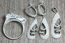 925 Sterling Silver & Rhodium Plating Unusual Cz Earrings + Pendant + Ring sz 8