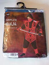 Childs Boy size 8 M Black & Red Ninja 3D Fighter Halloween Costume Decoration