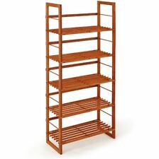 5 Tier Wooden Shoe Rack Tall Shelving Unit Freestanding Slatted Bookcase Storage