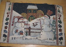 Daisy Kingdom Snowman Thrill On Peppermint Hill Tapestry Pillow Top Fabric Piece
