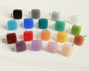 Flossy Square Piercing Color Stud Earrings Stainless Steel White Gold Silver