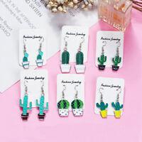Trendy Women Alloy Cactus Pattern Dangle Earrings Ear Hook Fashion Jewelry Gift