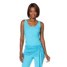 Lisa Kline Womens Perfect Pullover Scoop Neck Tank Top Nirvana Blue Small Sz HSN