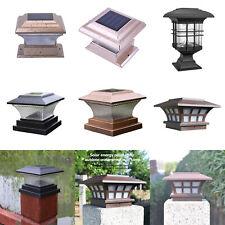Solar Powered LED Pillar Lamp Waterproof Outdoor Garden Landscape Post Light