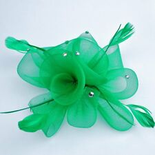 Fascinator Ansteckblume Blume Federn Strass Haarschmuck GRÜN Haarclip Brosche