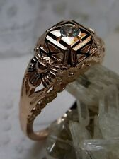 Edwardian Sky Blue Topaz Sterling Silver & Rose Gold Garden Filigree Ring Size 7