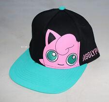 Pokemon Jigglypuff Mens Black Aqua Printed Flat Peak Cap Hat One Size New