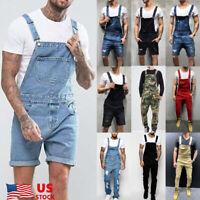 Men Shorts Denim Overalls Suspender Trousers Bib Pants Skinny Jean Jumpsuits US