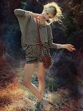 Free People Love Bug Striped Oversized Boho Thermal Sweater Top S Rare