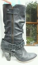 River Island black leather calf length high heel boots 6