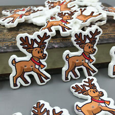 25pcs Christmas reindeer shape Wooden Buttons Sewing festival Decoration 35mm