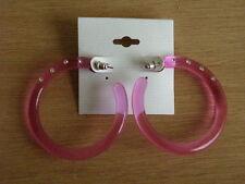 Ohrschmuck mit Strasssteinen. Creolen in rosa.Pink. ca. 5 cm Durchmesser.
