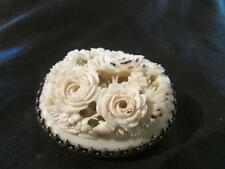 Exquisite Victorian Quality Solid Silver & Chinese Canton Carved Floral Brooch
