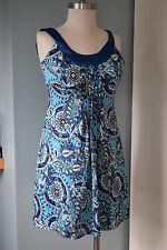 ann taylor petite size 0 blue boho print silk blend cocktail dress Excellent *