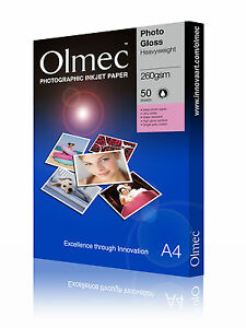 "Olmec 260gsm 10"" x 8"" Photo Glossy Inkjet Paper 50 Sheets (OLM6010X8)"