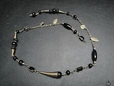 Bijoux Fantaisie-  Collier Perles Noires (fermoir à remettre)