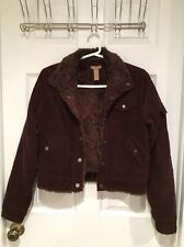 Gadzooks Fur Lined Brown Corduroy Jacket Women's Size Medium
