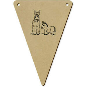 5 x 140mm 'Donkey & Foal' Wooden Bunting Flags (BN00059511)