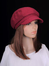 M208 Wine-red Solid Cute Trendy Winter Autumn Hat Cap Visor Newsboy Women's