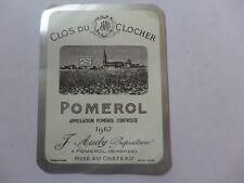 étiquette VIN  CLOS DU CLOCHER  1967   POMEROL