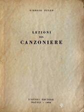 GIORGIO FULCO LEZIONI SUL CANZONIERE LIGUORI 1969