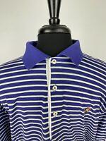 Peter Millar Mens Short Sleeve Golf Polo Shirt Size Large Purple Striped