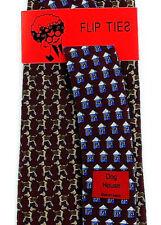 Vicky Davis Dog House Men's 100% Silk Necktie Dogs Animal Red Flip Neck Tie