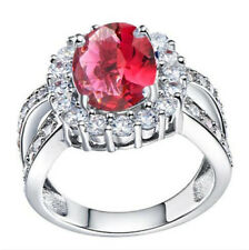 Fashion Women Red Gemstone CZ Crystal Silver Wedding Ring Jewelry Size 7  HOT