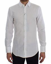 Nuevo Dolce & Gabbana Camisa de Algodón Rayas Blancas Sicilia Ajustado 39 /