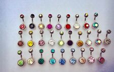 Double Gem Crystal Belly Bar  - Small or Medium Bar - 6mm or 8mm - 28 colours