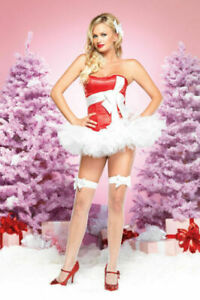 Leg Avenue 31047 Red / White Satin Bow Christmas Present Corset NEW M or L