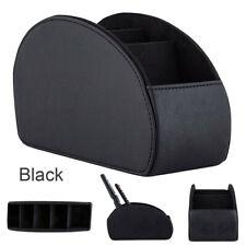 Storage Box PU Leather Organizer Remote Control Phone & TV Holder Desk Black