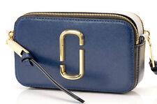 Marc Jacobs Snapshot blue leather signature logo clutch handbag purse NEW $295