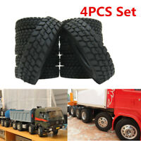 RC 4Pcs 1:14 Rubber Tires For Tamiya  RC 1/14 Tractor Truck Trailer Climbing Car