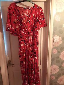 Ladies Red Wrap Dress Sz 24 26 Plus Midi Floral
